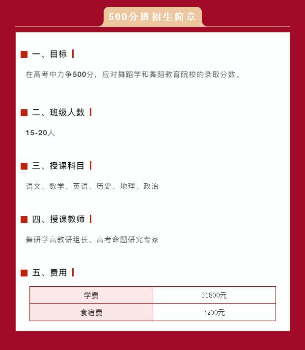 舞研学高文化课500分班招生简章